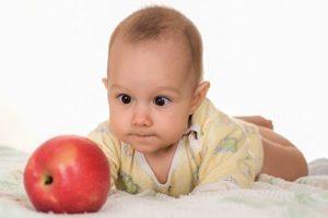 Грудничок и яблоко