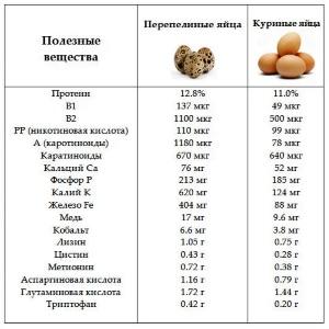 Полезные вещества в куриных и перепелиных яйцах